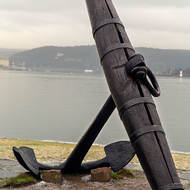 Anchor on display at the Norwegian Maritime Museum.