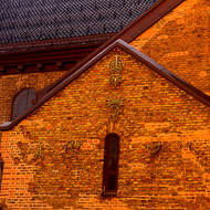 Aging brickwork of the Oslo Cathedral, the Oslo domkirke; looks like 1690 but could be broken 1698 as the cathedral was completed in 1697.