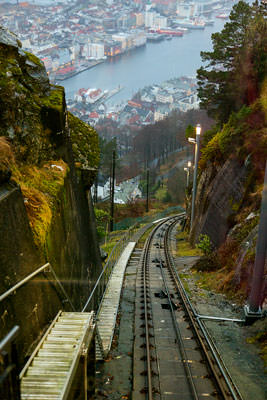 Thumbnail image of View down the Mount Floyen funicular railway,...