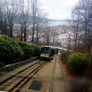 Passing loop on the Mount Floyen funicular railway, one up and one down.