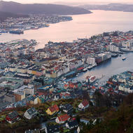 A panorama looking down on Bergen's Vagen harbor from Mount Floyen.