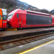 Electric locomotive, with snowplough, ready to haul the noon train from Bergen to Oslo.