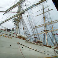 The Statsraad Lehmkuhl sailing ship at berth in Bergen.