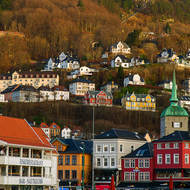 Vagen harbor, the fish market, St. Olav's church and the funicular railway.