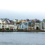 High density development, Art Nouveau style, around Alesund harbor.