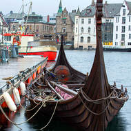Neo-Viking boat on Alesund harbor.