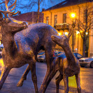 Sculpture of reindeer doe and fawn.