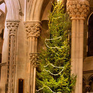 Christmas tree and decorations inside Nidaros Cathedral.