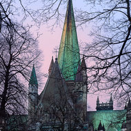 Pale glow of the sun over Nidaros Cathedral.