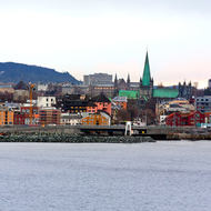 The city of Trondheim dominated by the Nidaros cathedral.