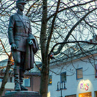 Statue of King Haakon 7 downtown Bodo.