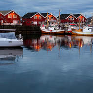 Mid-morning reflections at the Bodo small boat harbor.