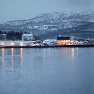 Not much to it, a panorama of the wharf and harbor of Finnsnes.