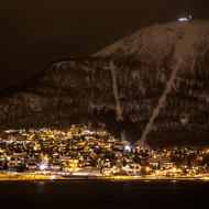 Mountain peak towering over the south side of Tromso.