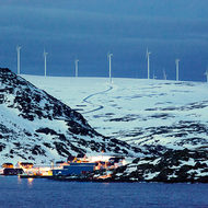 Fish processing works and wind farm.