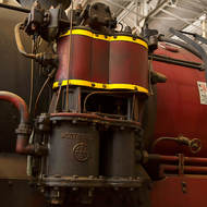 Westinghouse pump on the center boiler section of Beyer Garratt steam locomotive 1009.