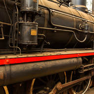Boiler and drive arrangement of steam locomotive 732, just a little bit dusty.