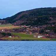 Farms and houses on the outskirts of Trondheim.