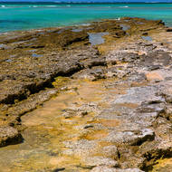 Low tide exposes the coral reef plateau.