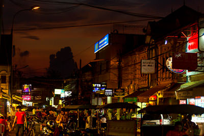 Thumbnail image ofNight market takes over the street with the sun...