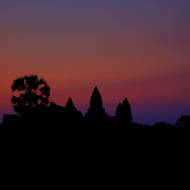 Pre-sunrise colors of the sky from the western side of Angkor Wat.