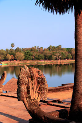 Thumbnail image ofLooking west over the moat past a Naga head from...