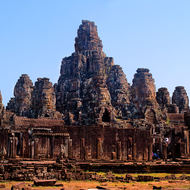 Panorama of the southern side of Bayon in the Angkor Thom complex.