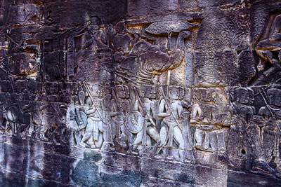 Thumbnail image ofWarriors and combat bas relief in the western...