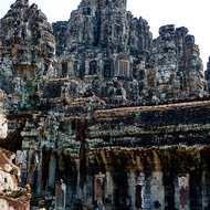 View of the west side of Bayon in the Angkor Thom complex.
