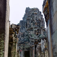 Stairway inside the inner enclosures of Bayon in the Angkor Thom complex.