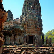 Inner gallery and tower at Bayon in the Angkor Thom complex.