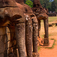 Row of elephant heads at the Elephant Terrace in the Angkor Thom complex.