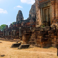 Preah Rup temple complex, brick on laterite.