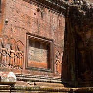 Bas relief on the gallery of the eastern entrance to Angkor Wat.