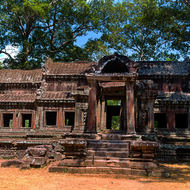 Gallery at the eastern entrance to Angkor Wat.