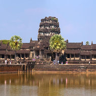 Panorama of Angkor Wat across the moat to the western main entrance towers.
