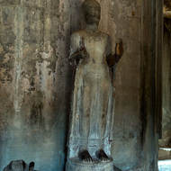 Standing Buddha image in the Gallery of 1000 Images of Lord Buddha in Angkor Wat.