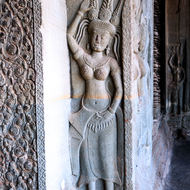 Bas relief of an Apsara Dancer in the west gallery of Angkor Wat, enclosure III.