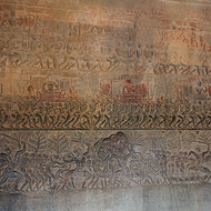 Bas relief of heaven, earth and hell in the south gallery of enclosure III of Angkor Wat.