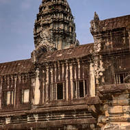 One of the towers of the central sanctuary of Angkor Wat from outside enclosure II.