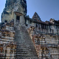 Steep stairs up to the north-east tower of the central sanctuary of Angkor Wat.