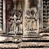 Bas relief of Apsara dancers on the inner wall enclosure II of Angkor Wat.