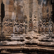 Bas reliefs of Apsara dancers on the inner wall enclosure II of Angkor Wat.