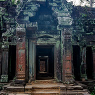Looking in from the west through the galleries of Ta Prohm.