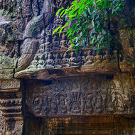 Details of a frieze above an entrance doorway at Ta Prohm.