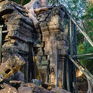 Restoration works in progress, at least to stop further damage at Ta Prohm.