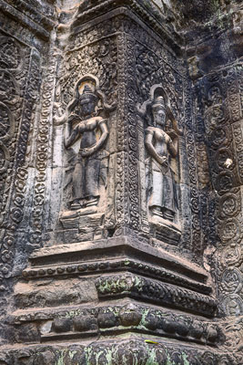 Thumbnail image ofIntact bas relief of Apsara dancers on a central...