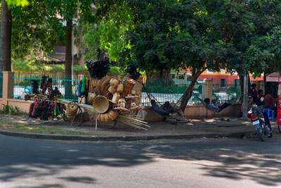 Thumbnail image of A quiet trading day for the roadside basket vendors.