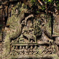 Frieze over a door in the outer enclosure western entrance gallery of Beng Mealea temple.