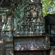 Most of a frieze on the western entrance gallery of Beng Mealea temple, the jungle has reclaimed the rest.